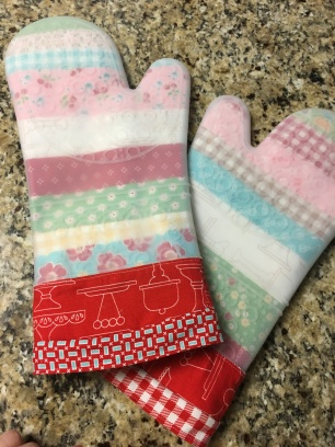 These were made with leftover Let's Bake - Lori Holt fabric